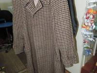 Ralph Lauren Plaid Trench Coat #~440~# 100% Wool -