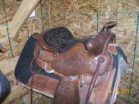 15in. Western Ranch Saddle with 3/4 quarter horse