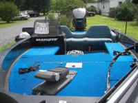 Ranger bass boat and trailer, 364v, has a Johnson GT150