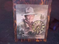 RARE & UNIQUE JOHN WAYNE PICTURE WOODEN WOOD WALL