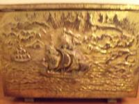 VERY OLD BRASS HAMMERED MOTIF, SHIP DESIGN, EXTREMELY
