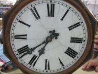 UNCOMMON ANTIQUE WALL CLOCK, VERY OLD, SOLD AS IS.