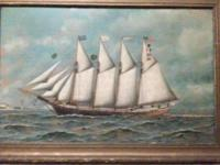 Original Antonio Jacobsen Oil Painting 1910 Hoboken NJ