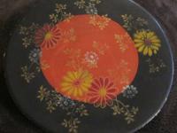 Rare Asian Hand Painted Porcelain Flower Scene 7 Tray