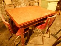 UNUSUAL, ANTIQUE table with steel top and timber