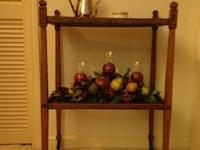 Very rare, English oak tea trolley with original