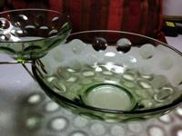 Rare Vintage green glass chip and dip bowl set .Bubble