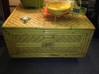 "Square Rattan Coffee Table. 31"" x 31"" x 173/4"" tall. In"