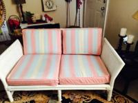 Four piece rattan furniture, love seat, two chairs and