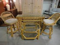 Rattan Glass Top Bar or can be used as sofa table 2
