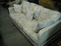 Nice rattan queen sofa sleeper with shell pattern in