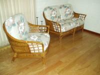 Rattan Wicker 2 person couch and matching chair. Firm