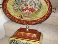 Raymond Waites - Decorative floral/fruit Serving Tray