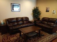 Leather couch and love seat, both with recliner