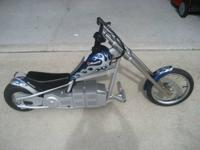 For sale: Blue and silver hot rod chopper that needs
