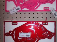 Razorback Metal License Plates. (Pink and Red) $29.95