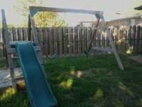 100% real wooden swing set weather treated. Very sturdy