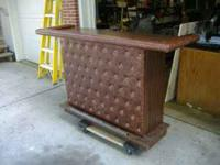 Really nice brown leather quilted pattern bar for your