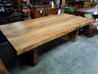 Rustic recovered slab wood table with Nakashima style
