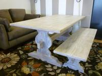 Reclaimed Wood White-Washed Finish Dining Table and