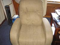 Lazy Boy recling chair beige cloth covered. Serious