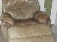 Recliner is leather, but leather is not in good