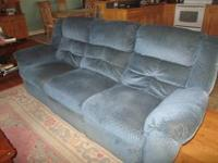 Blue Sofa and Loveseat (four recliners) with fold down