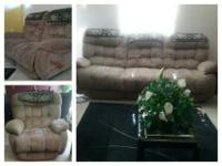 3 pc Light brown recliner set the love set handle does