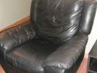 GREAT CONDITION!!!! Black Leather recliner/swivel