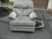 recliner with  side table and  cup  holder    its  blue