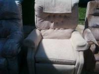 2nd picture light tan recliner, clean, recliner works