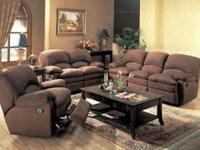 Recliner Sofa available in Chocolate or Mocha. This
