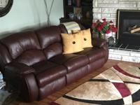 Large reclining leather sofa can be seen on Snow Lake