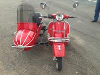 2005 Vespa Stella Scooter with side car RED 150cc clean