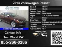 Call Tom Timber VW at  Stock #: VP8014 Year: 2013 Make: