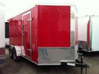 "7 x 14 V-nose, Ramp Door, 6'6""' Interior Height RED"