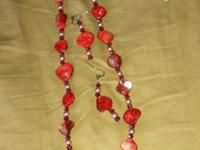 Red Abalone Shell Necklace & Earring Set! Made with