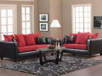 RED AND BLACK SOFA AND LOVESEAT ON SALE THIS MONTH!!!