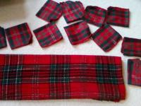 All 13 pieces for $12.00. Red and green plaid