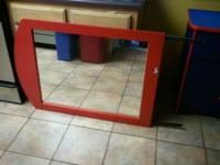 BEAUTIFUL 6 DRAWER RED AND BLUE DRESSER w/ MIRROR FOR