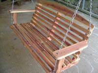 4 foot porch swing made locally of beautiful red cedar.