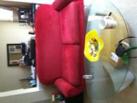 Modern red micro-suede couch for sale in okay