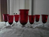Set of 6 Outstanding Red Crystal Glass Goblets and
