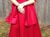 David's bridal 'apple' red long prom, bridesmaid, ball,
