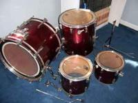 Percussion Plus, Red Drum set. Includes: Bass drum, two
