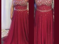 Gorgeous, red sequined with gems high waisted gown.