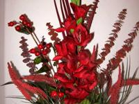 Add this red flower arrangement to any room in your