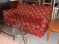 RED/GOLD SLEEPER SOFA OR COUCH W/ GLASSTOP & GOLD BASE