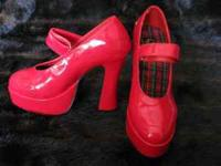 "Sexy red hot platform high heels, Size 9, 5 1/4"" rise"