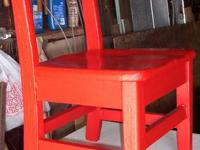 $15. the kids wooden chair has been repainted red.